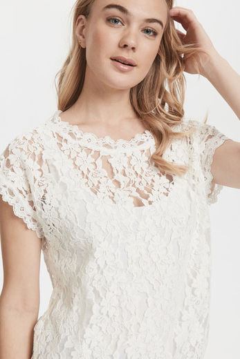 Cream Vivi Lace Blouse Chalk